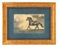 """Картина на сусальном золоте """"Большая бегущая лошадь"""""""