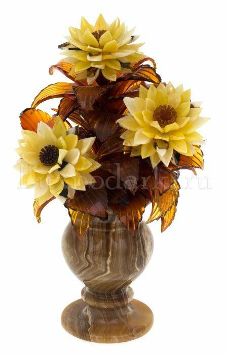 """Композиция с цветами из янтаря """"Астры"""" в вазе- 0"""