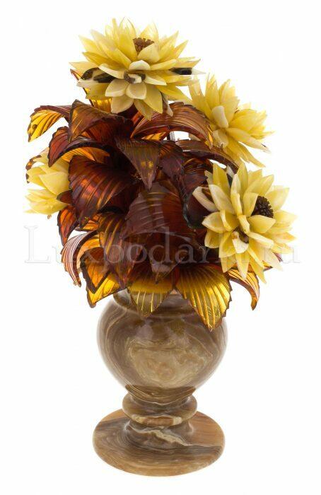 """Композиция с цветами из янтаря """"Астры"""" в вазе- 1"""