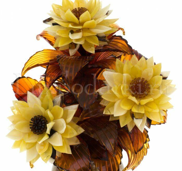 """Композиция с цветами из янтаря """"Астры"""" в вазе- 2"""