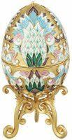 """Яйцо-шкатулка  Русские самоцветы """"Голубые цветы"""""""