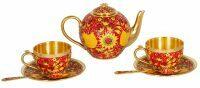 """Чайный набор  Русские самоцветы """"Хохлома""""  на 2 персоны (эмаль горячая)"""
