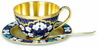 """Чашка с блюдцем  Русские самоцветы """"Белые цветы"""""""