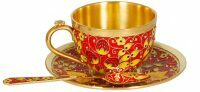 """Чашка с блюдцем  Русские самоцветы """"Хохлома"""""""