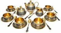 Серебряный чайный сервиз на 6 персон Северная чернь