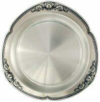 Тарелка серебряная для хлеба Северная чернь