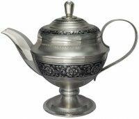 """Чайник из серебра  Северная чернь """"Цветы"""""""