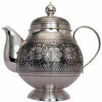 """Чайник из серебра  Северная чернь """"Цветочный"""""""