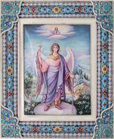 """Икона """"Ангел хранитель"""" большая (финифть)"""