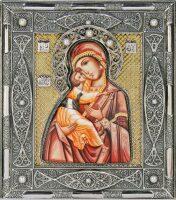 Владимирская икона Божией Матери с жемчугом (финифть)
