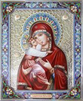 Владимирская икона Божией Матери уменьшенная (финифть)
