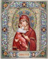 Владимирская икона Божией Матери большая (финифть)