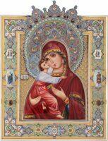 Владимирская икона Божией Матери на базе Казанской Богоматери (финифть)