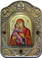 Владимирская икона Божией Матери настольная (финифть)