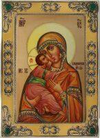 Владимирская икона Божией Матери цвет янтарь (финифть)