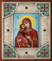 Владимирская икона Божией Матери с углами (финифть)