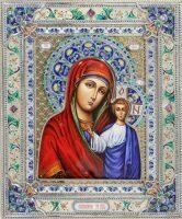 Казанская икона Божией Матери на базе Владимирской иконы (финифть)