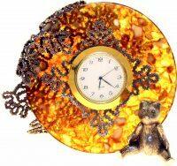 """Часы из янтаря """"Вологодские кружева"""""""