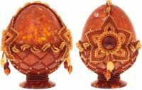 Яйцо пасхальное из янтаря с цветком