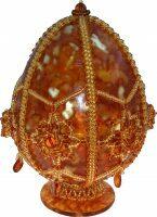Яйцо пасхальное из янтаря с навершием и звёздами