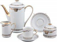 """Чайный сервиз  Rudolf Kampf """"Rose & Ribbons""""  белый с золотом"""