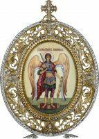 Икона серебряная настольная с финифтьевым образом Архангела Михаила