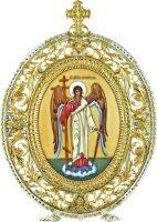 """Икона серебряная настольная с финифтьевым образом """"Ангел хранитель"""""""