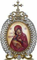 Икона серебряная настольная с финифтьевым образом Божьей матери Владимирской
