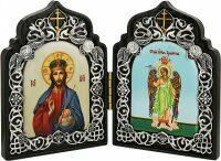 """Складень на дереве с образами """"Иисус Христос"""" и """"Ангел Хранитель"""""""