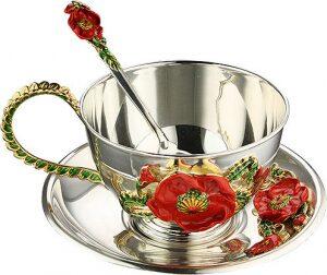 """Чайный набор из серебра """"Маки"""""""