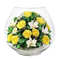 """Композиция из роз и орхидей """"Helga"""""""