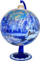 """Ёлочный шар на подставке """"Дом у реки"""" синий"""