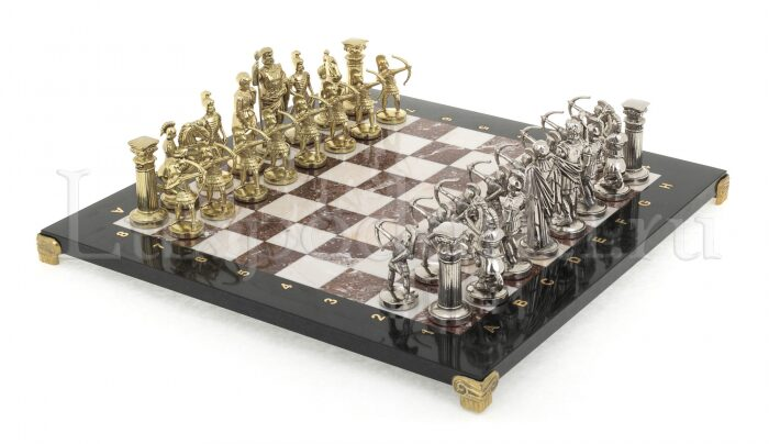 "Шахматы из камня ""Лучники"" (яшма, мрамор, долерит)- 0"
