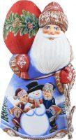 """Резная статуэтка """"Дед мороз со снеговичком"""" красный"""