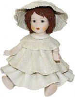 """Статуэтка  Zampiva """"Кукла сидящая с темными волосами в белом платье"""""""