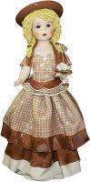 """Статуэтка  Zampiva """"Кукла с цветами в св. коричневом платье"""""""