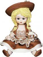 """Статуэтка  Zampiva """"Кукла сидящая с цветами""""  коричневая"""