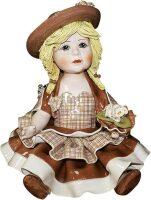"""Статуэтка  Zampiva """"Кукла сидящая в св. коричневом платье"""""""
