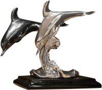 """Скульптура  Euro FAR """"Два дельфина на волне""""  посеребренная"""