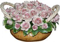 """Декоративная корзина с двумя ручками  Artigiano Capodimonte """"Розовые розы"""""""