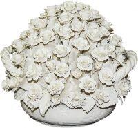 Декоративная корзина с белыми розами Artigiano Capodimonte