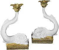 """Подсвечник  Ceramiche Dal Pra """"Рыбы"""" , цвет: белый с золотым"""