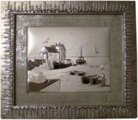 "Картина  Linea Argenti ""Морской пейзаж"" , рамка серебряного цвета"