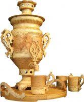 """Чайный набор с самоваром из бересты """"Даромир"""""""