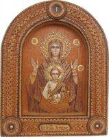 """Икона из бересты """"Пресвятая Богородица Знамение"""""""