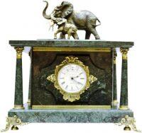 "Сейф-часы ""Слоны"" (зелёный мрамор)"