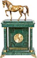 "Сейф-часы ""Лошадь"" малый (зелёный мрамор)"