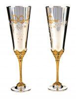 """Набор бокалов для шампанского из серебра """"Яблоневый цвет"""""""