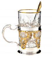 Набор чайный серебряный с позолотой