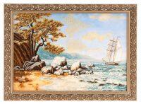 """Картина из янтаря """"Белый парус"""""""